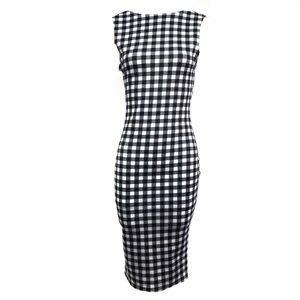 Love...Ady Black & White Gingham Jersey Dress New